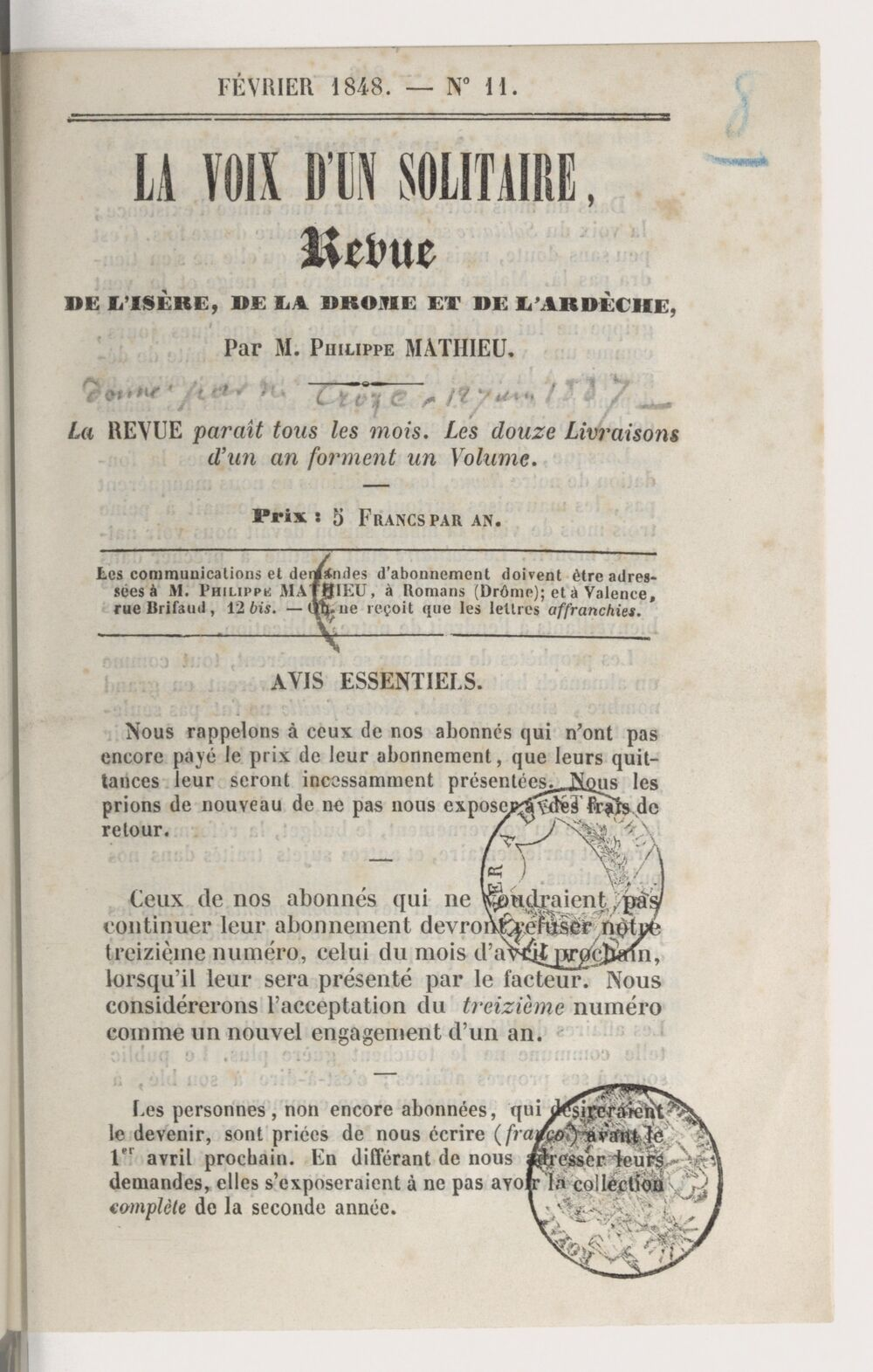 La Voix d'un solitaire : revue de l'Isère, de la Drôme et de l'Ardèche / par M. Philippe Mathieu