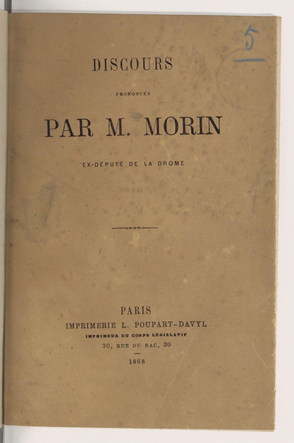 Discours prononcés par M. Morin, député de la Drôme