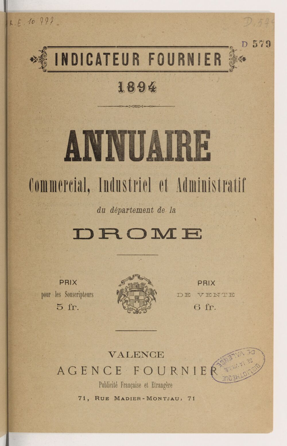 Annuaire commercial, industriel et administratif du département de la Drôme