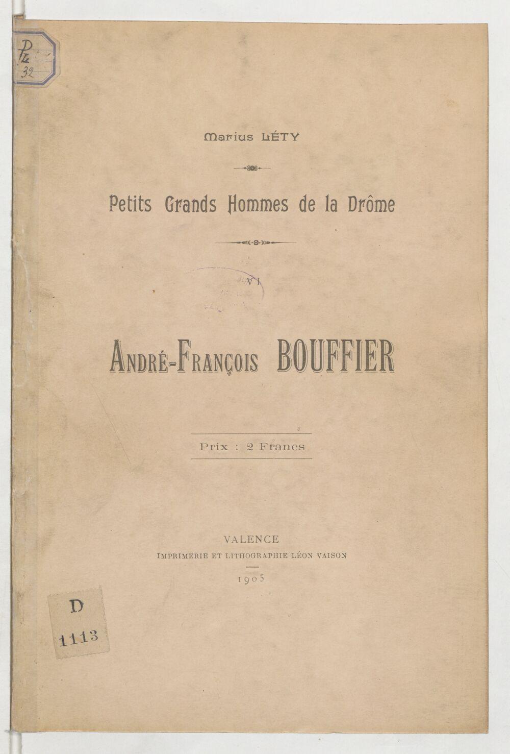 André-François Bouffier / [par] Marius Léty