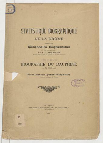 Statistique biographique de la Drôme, d'après le