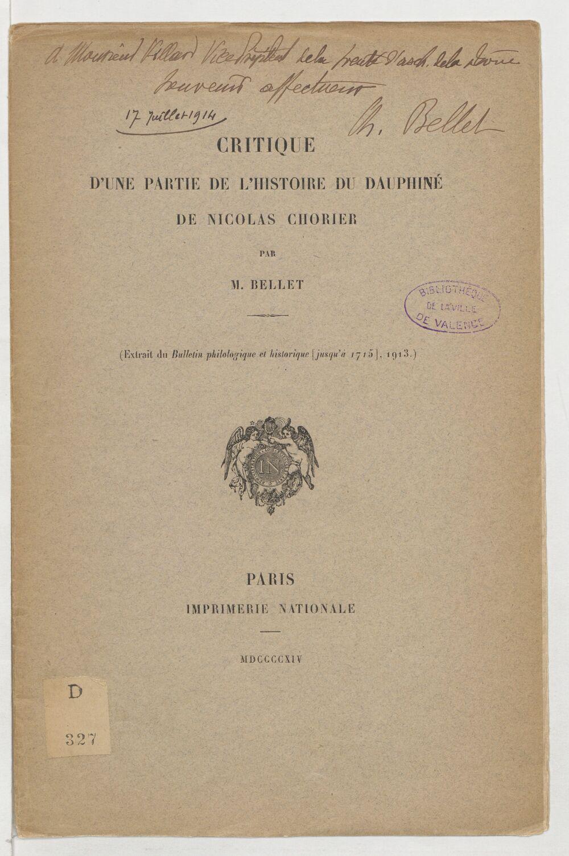Critique d'une partie de l'Histoire du Dauphiné de Nicolas Chorier / par M. Bellet