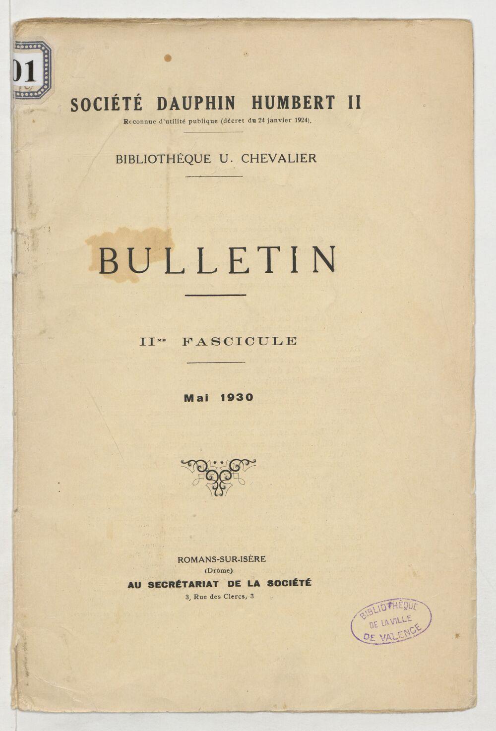 Bulletin : bibliothèque U. Chevalier / Société Dauphin Humbert II