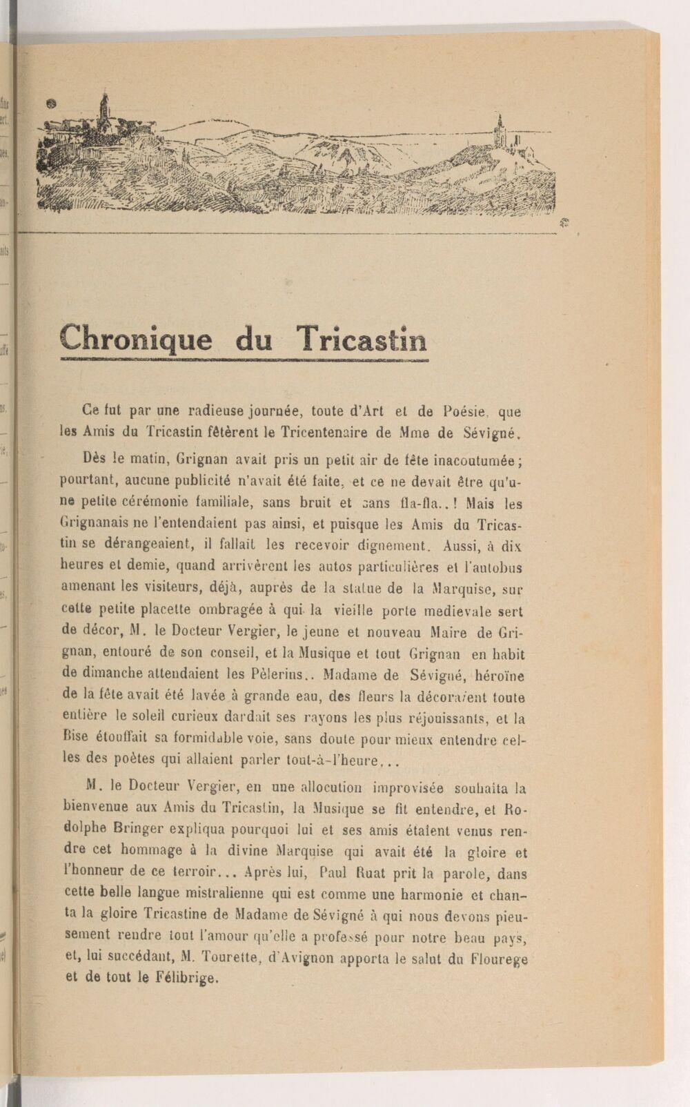 Le Tricastin : histoire, arts, littératures, tourisme : revue mensuelle dirigée par Rodolphe Bringer
