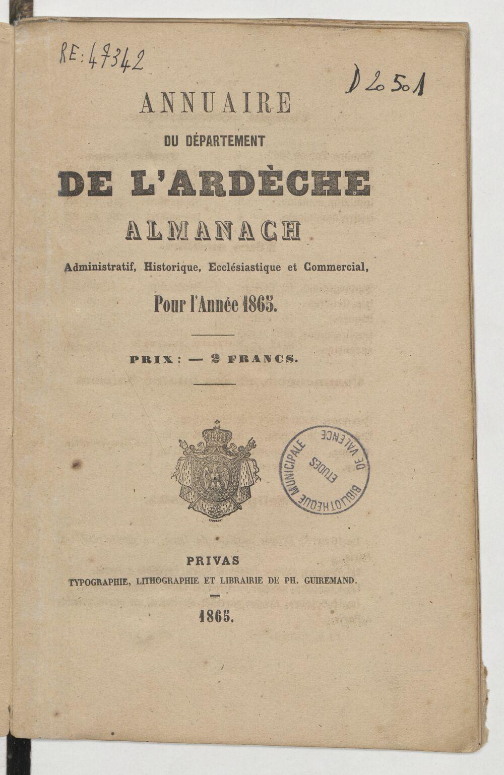 Annuaire du département de l'Ardèche : almanach administratif, ecclésiastique et commercial pour l'année...