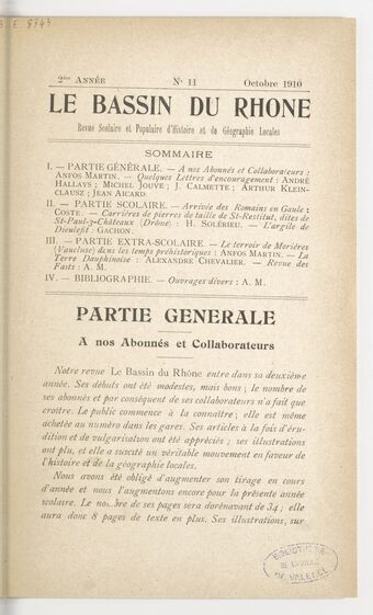 Le Bassin du Rhône : revue scolaire et populaire d'histoire et de géographie locales / Anfos Martin, inspecteur de l'enseignement scolaire, directeur