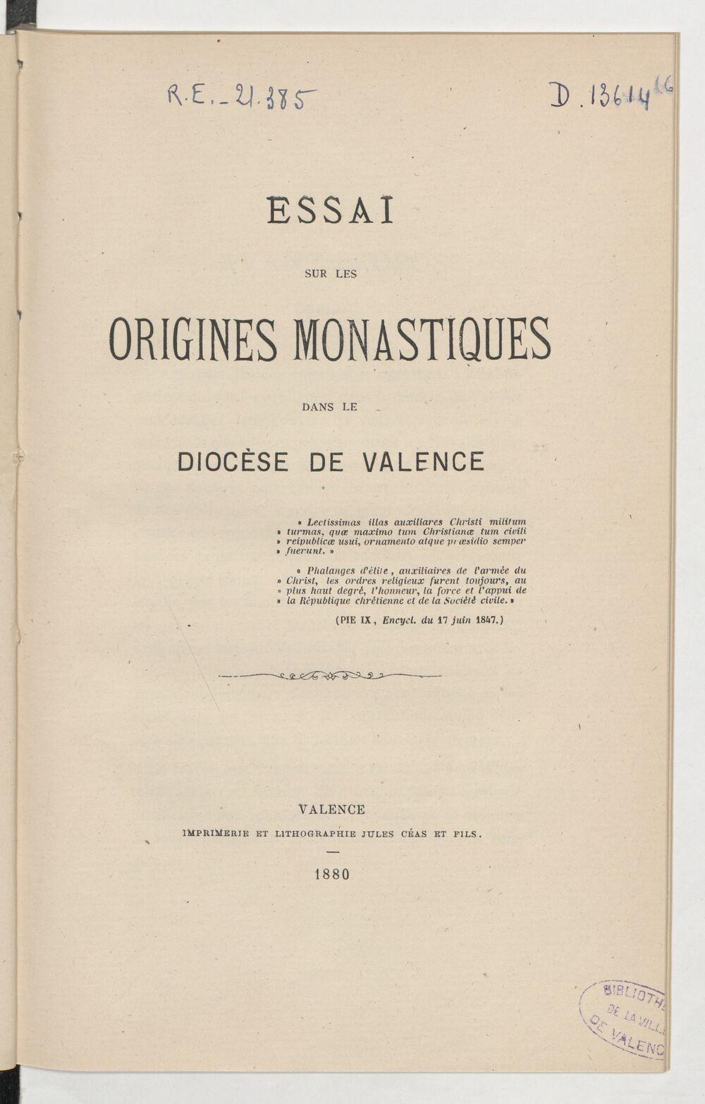 Essai sur les origines monastiques dans le diocèse de Valence