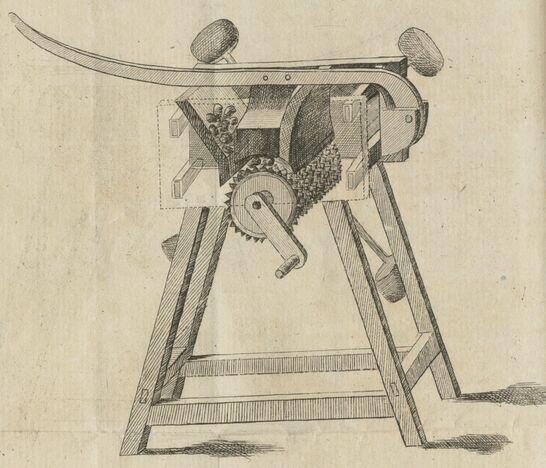 Machine à râper les pommes de terre dont on veut faire du pain. Image publiée à Bourg-en-Bresse en avril 1813 dans : Journal d'agriculture et des arts