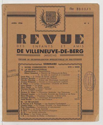 Revue de la Société des enfants et amis de Villeneuve de Berg