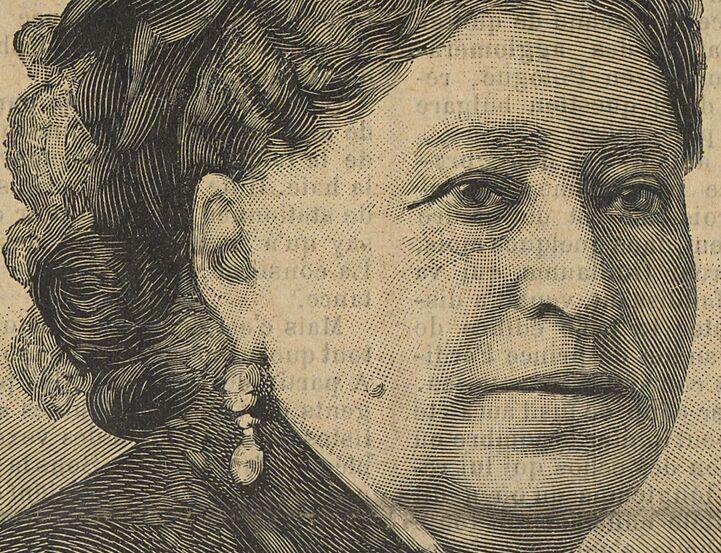 Madame veuve Boucicaut. Gravure de Lemaire et Gauchard, d'après la photographie de Liébert, publiée à Épinal le 25 décembre 1887 dans le journal : Le Vosgien illustré