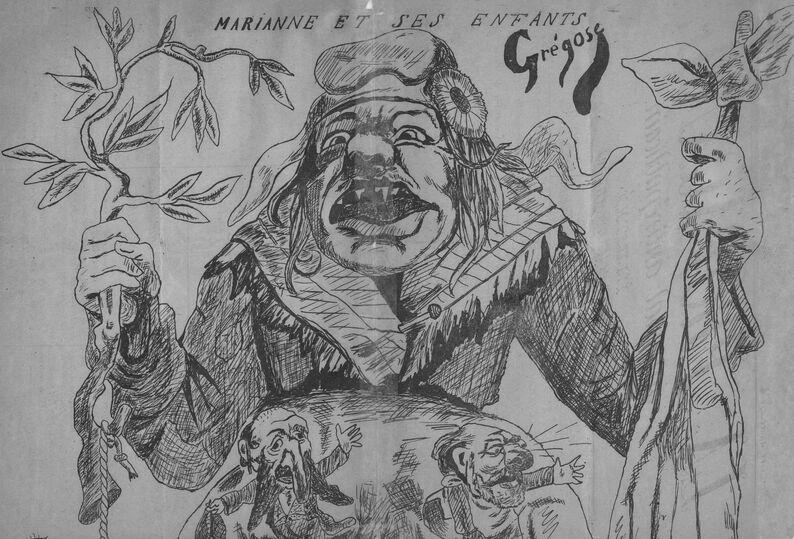 Marianne et ses enfants. Image publiée à Toulouse le 5 novembre 1882 dans le journal : La Propagande : journal anti-républicain...