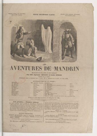 Les aventures de Mandrin : mélodrame en cinq actes, et dix tableaux / par MM. Alphonse Arnault et Louis Judicis ; musique de M. Fossey
