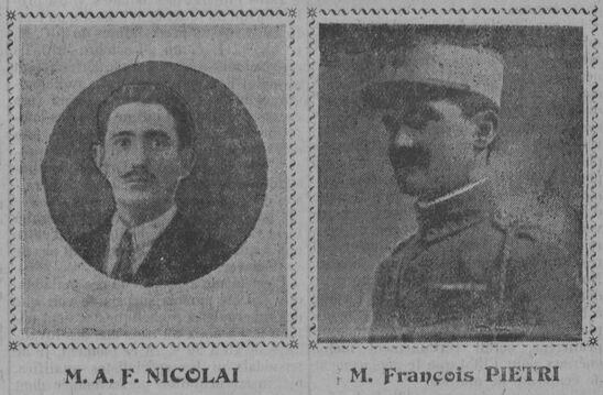 A.-F. Nicolai, François Pietri, collaborateurs du journal La Corse mutilée. Image publiée à Ajaccio le 4 février 1923 dans le journal : La Corse mutilée