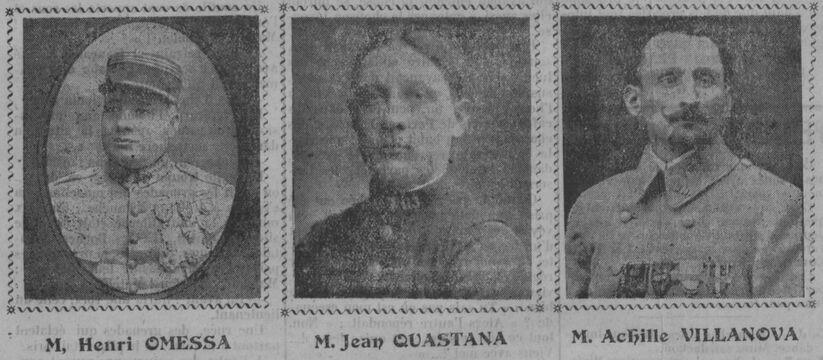 Henri Omessa, Jean Quastana, Achille Villanova, collaborateurs du journal La Corse mutilée. Image publiée à Ajaccio le 4 février 1923 dans le journal : La Corse mutilée