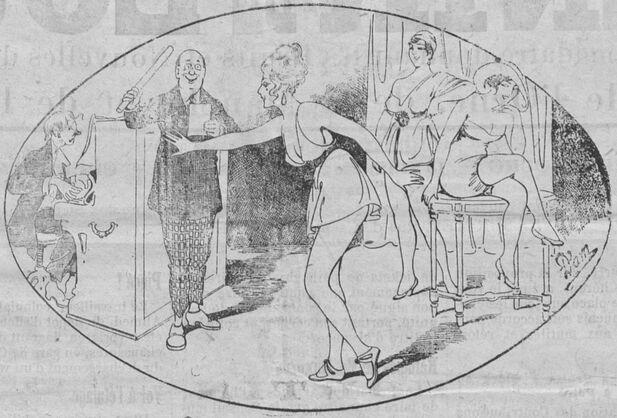 À l'école de danses. Image publiée à Cherbourg le 15 décembre 1918 dans le journal : L'Avenir de l'Ouest