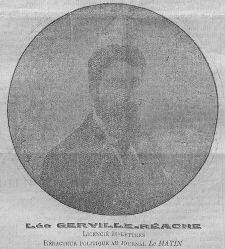 Léo Gerville-Réache, licencié es-lettres, rédacteur politique au journal Le Matin. Image publiée à Basse-Terre le 13 janvier 1912 dans le journal : Le Citoyen