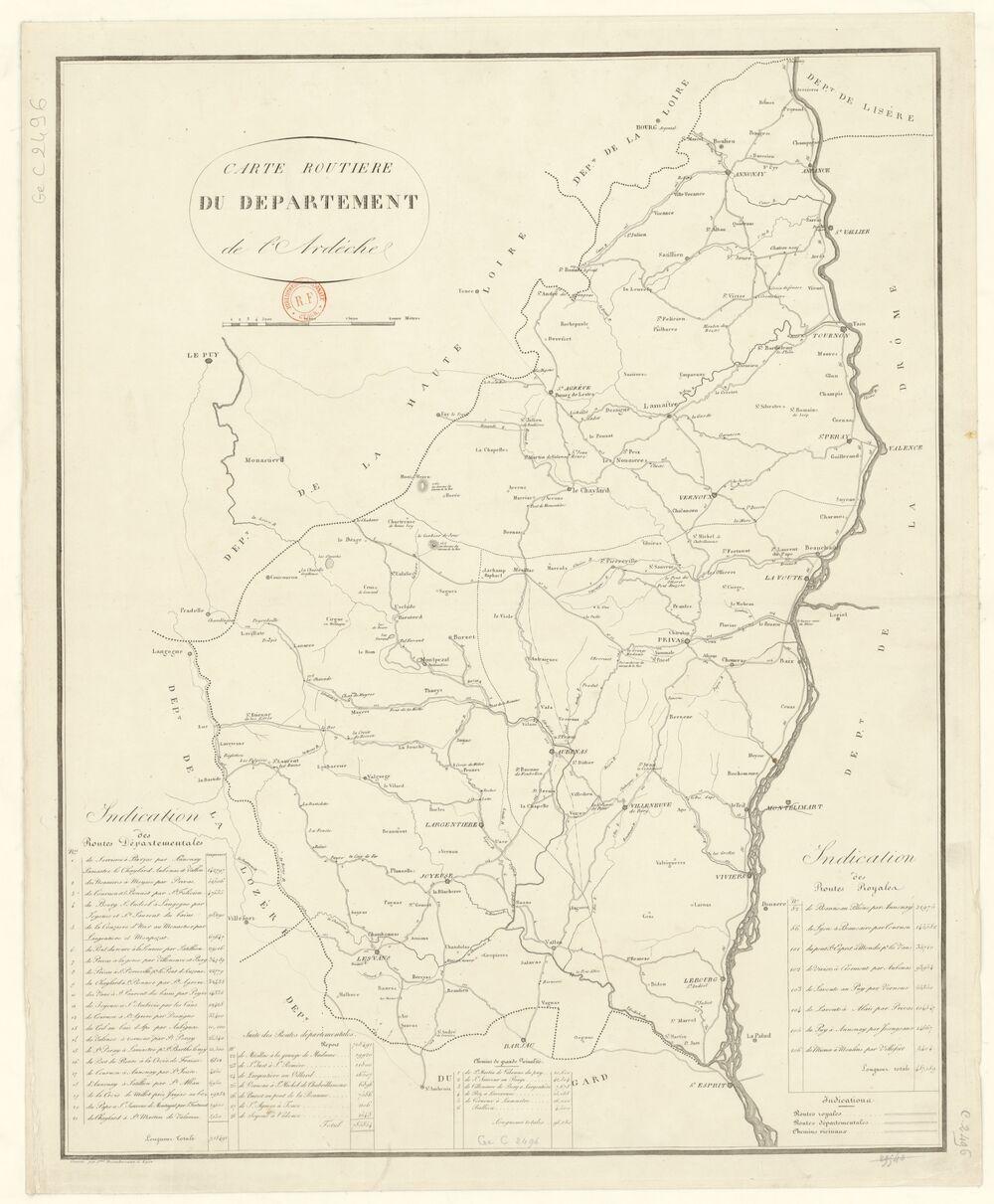 Carte routière du département de l'Ardèche