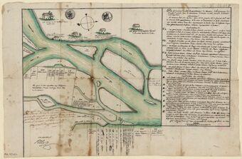 Plan géométrique de l'isle et appartenances de Chenevier de la commune de Bourg-Saint-Andeol, avec les aboutissants et confins du nord, du midi, de l'orient et de l'oxident... / Plan dressé par M. Froment geometre le 17 pluviose an 5...