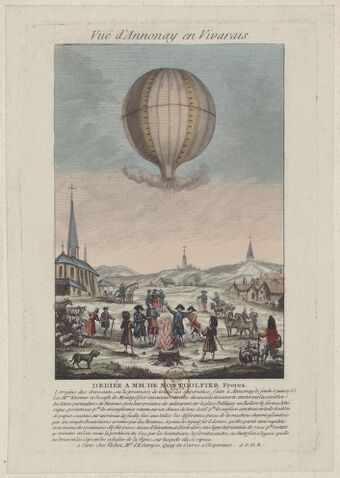 Vuë d'Annonay en Vivarais, dédiée à MM. de Montgolfier frères : L'origine des Aerostats, ou la première de toutes les expérience, faite à Annonay le jeudi 5 juin 1783 : [estampe]