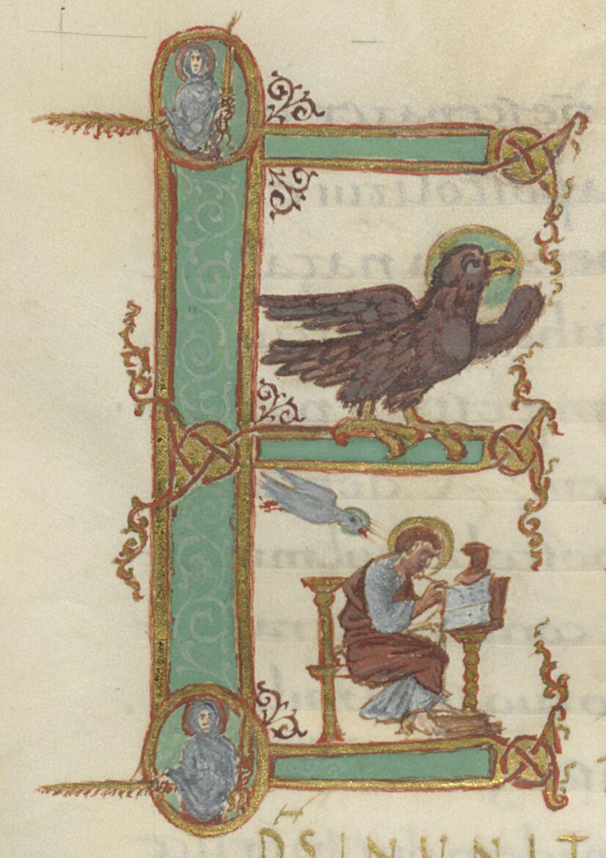 Historiated E with Eagle and John