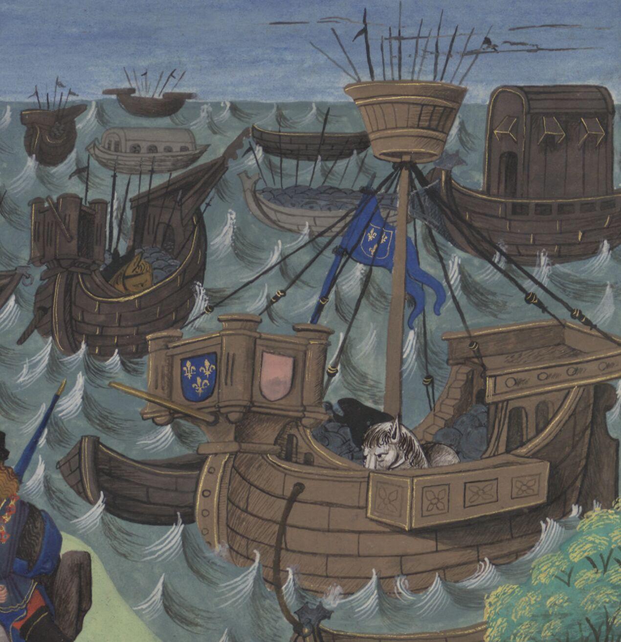 Horses in ships on choppy water