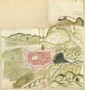 Plan // de // Privas et de son paisage fait [...] // en Vivarez : [dessin] / [Non identifié]