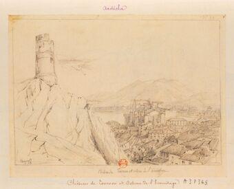 Château de Tournon et coteau de l'hermitage [sic] : [dessin] / Chapuy