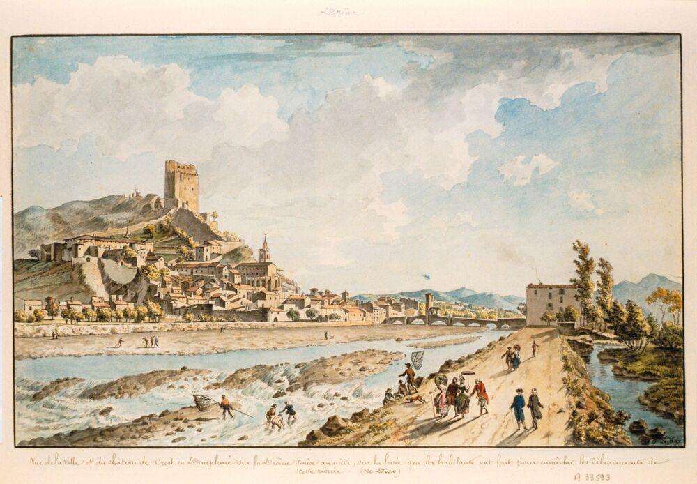 Vue de la ville et du chateau de Crest en Dauphiné sur la Drôme ... : [dessin] / O. Le May