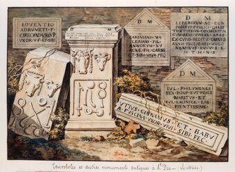 Epitaphes et tauroborum antiques à Die en Dauphiné ... : [dessin] / O. Le May