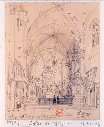 Eglise de Grignan. Drome : [dessin] / HC [Hubert Clerget]