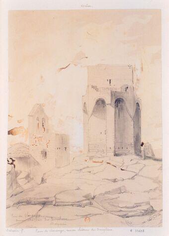 Tour des Clansayes. Ancien chateau des Templiers. Drôme : [dessin] / [Léon Jean-Baptiste Sabatier]