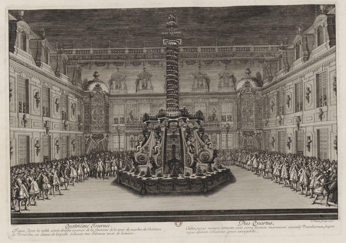 Quatrième journée des Divertissemens de Versailles. Festin dans la cour de marbre.