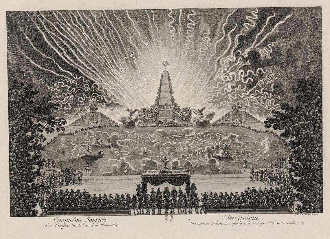 Cinquième journée des Divertissemens de Versailles. Feu d'artifice sur le canal.