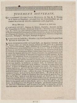 Jugement souverain qui a condamné à la roue Louis Mandrin du lieu de S. Etienne de S. Geoirs en Dauphiné