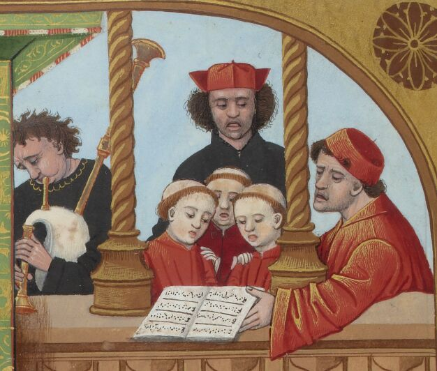 BNF FR 143, fol. 65v  – Bagpipes and Choir