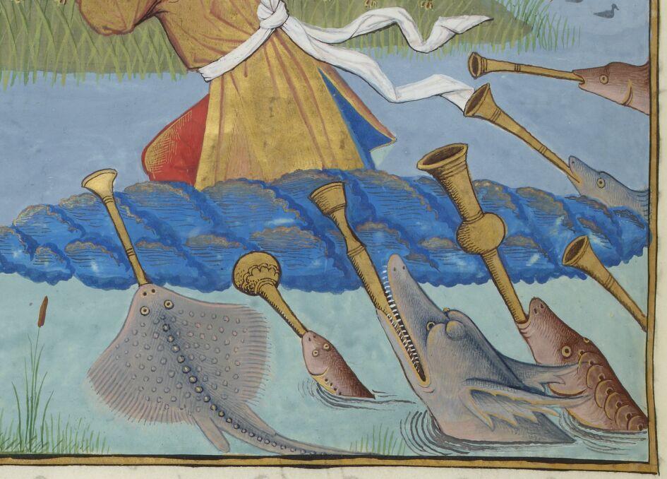 BNF FR 143, fol. 130v – Aquatic musicians in Neptune's Court