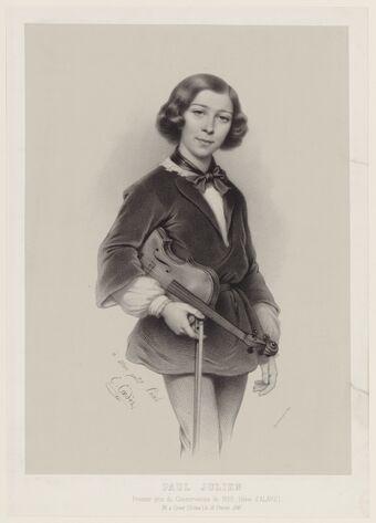 Paul Julien, premier prix du Conservatoire en 1850 (élève d'Alard), né à Crest (Drôme) le 13 février 1841 / E. Coedès 1851