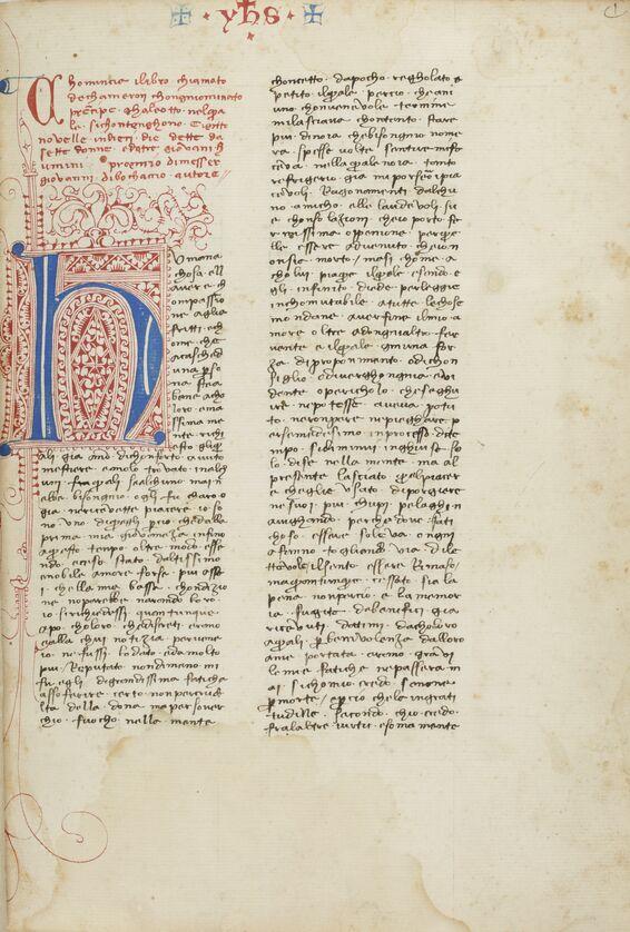 Giovanni Boccacio, Il Decameron (1401-1500), BnF, ms., Italien 63, f. 1r