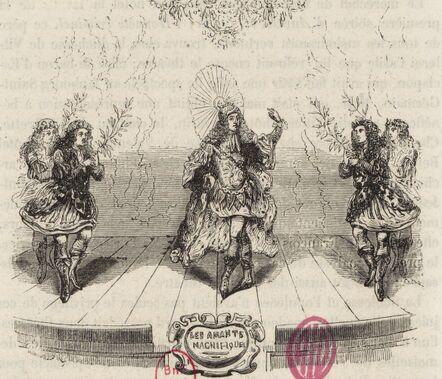 Danseurs de ballet. Estampe représentant l'un des intermèdes des Amants Magnifiques de Molière, 1670.