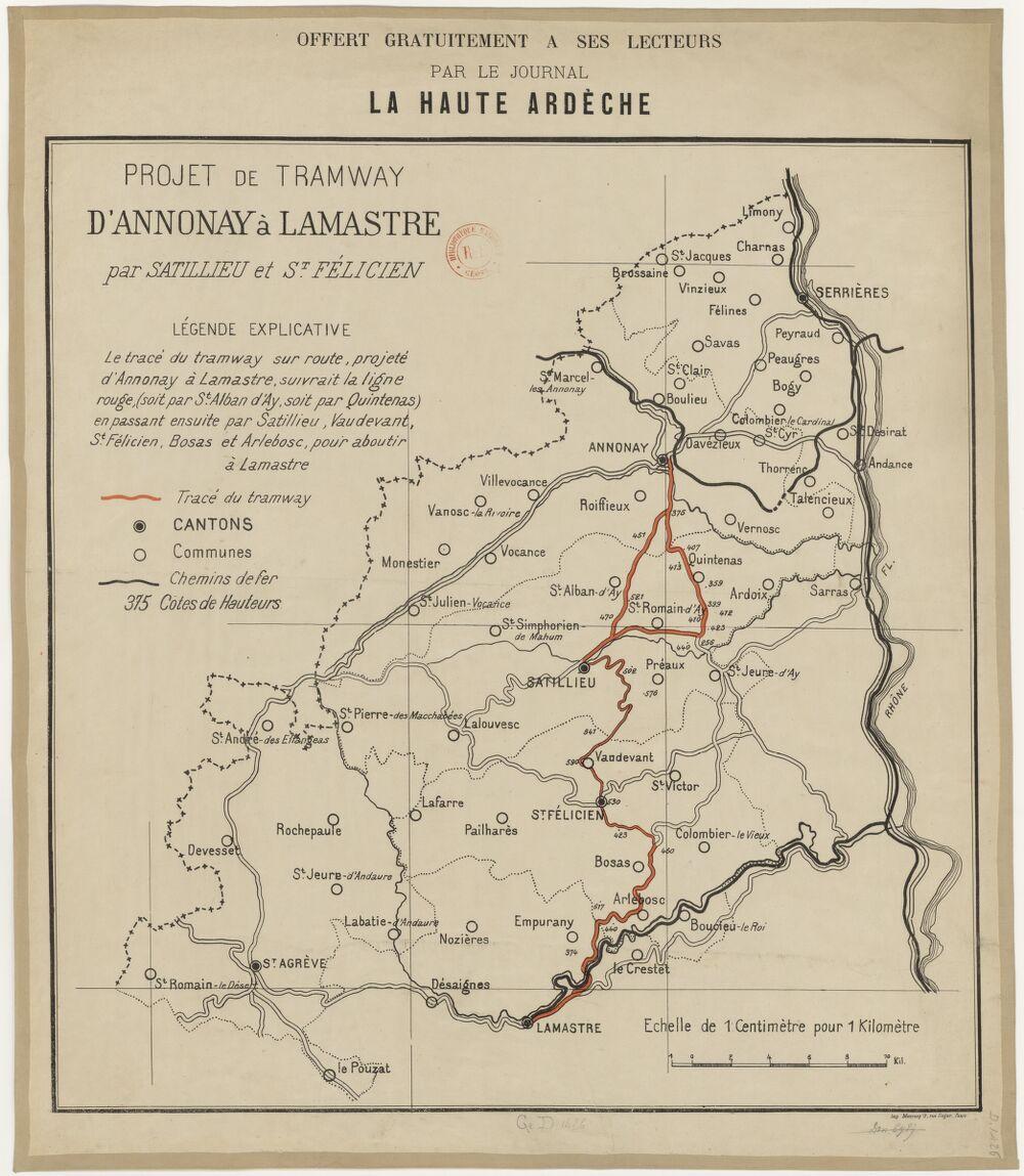 Projet de tramway d'Annonay à Lamastre par Satillieu et St Félicien
