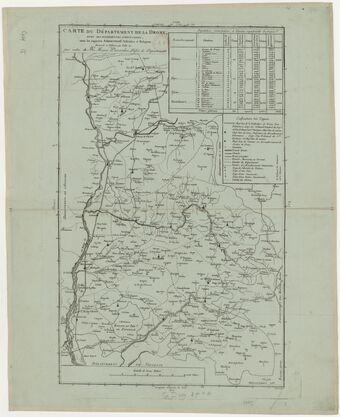 Carte du département de la Drôme avec ses différentes subdivisions, sous les rapports administratif, judiciaire et religieux, dressée à Valence l'an XII...