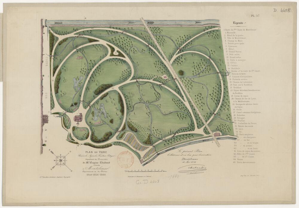 Plan du parc sericicole agricole fruitier, potager dépendant des propriétés de M. Eugène Chabaud situées à Montelimart... 1846-1856-1860. Fcois Duvillers architecte...