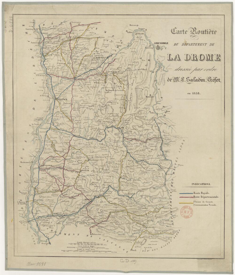 Carte routière du département de la Drôme... en 1838