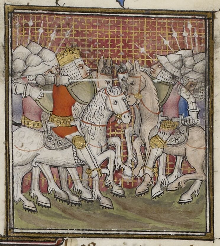 King leading his army in battle