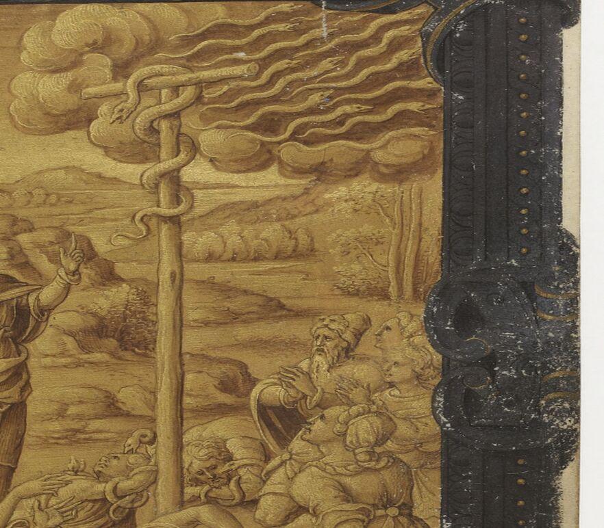Brazen serpent in brass grisaille