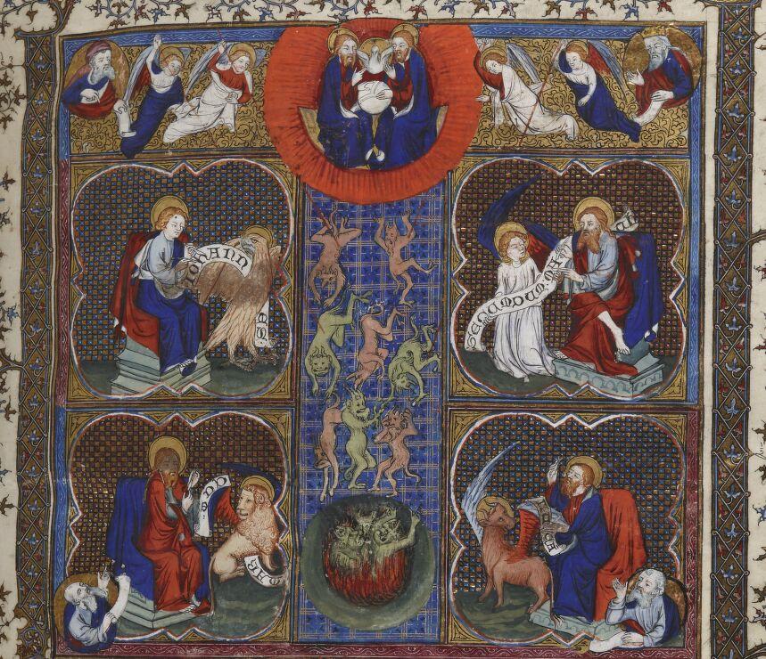 BNF Fr 159, fol. 3r – Fall of Rebellious Angels
