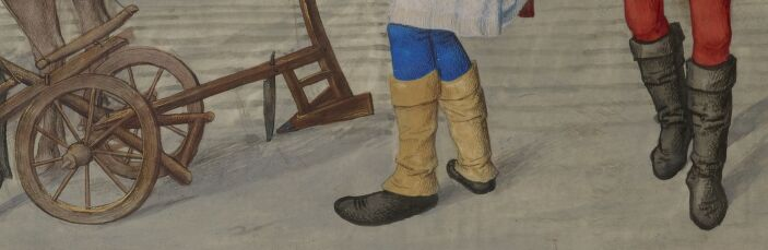 BNF N1, fol. 116v, Details: plow and boots