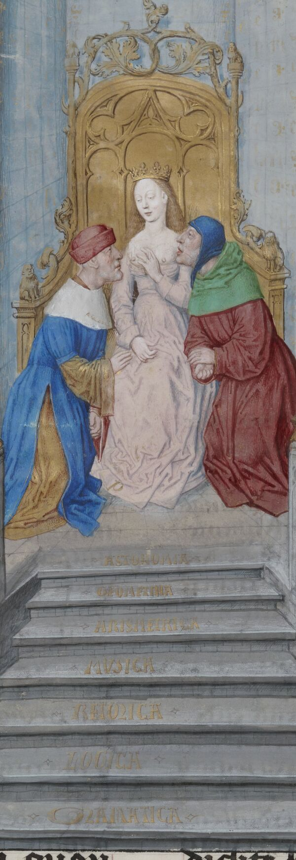 BNF N1, fol. 12v Lady Philosophy on her throne