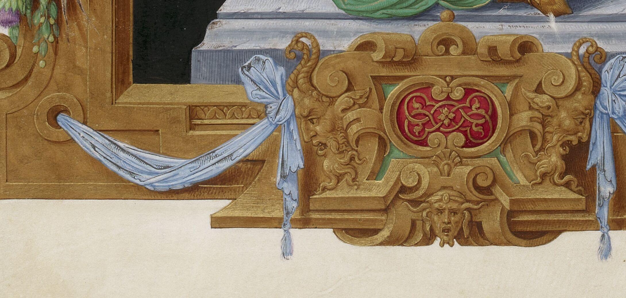 Renaissance cartouche with masks