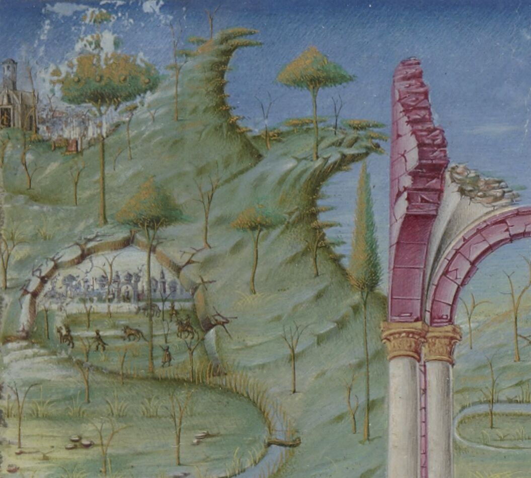 Romanesque ruins and distant hunting scene